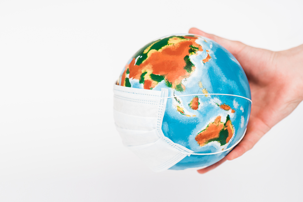 Image of the earth wearing a surgical mask
